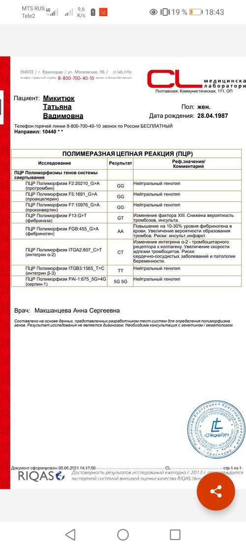 Результаты анализа ПЦР Полиморфизмы генов системы свертывания - фото №1