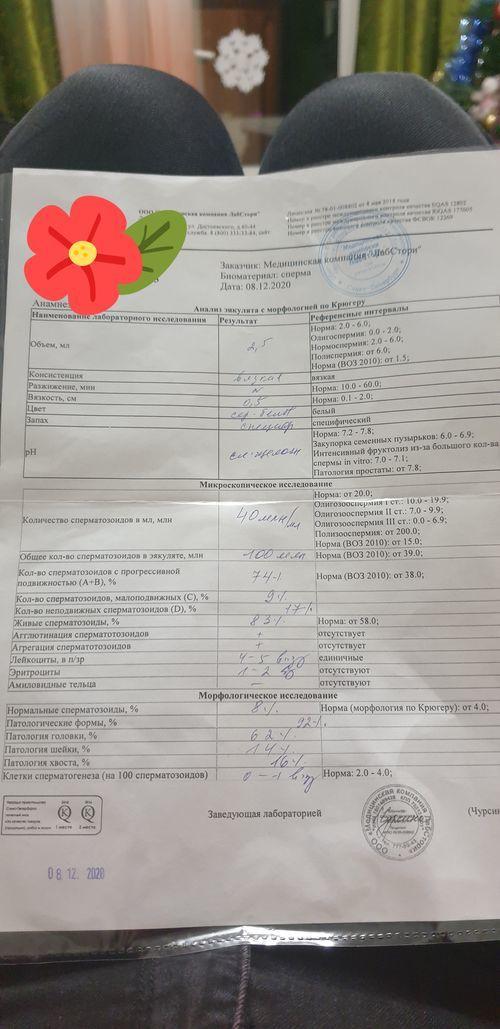 Помогите расшифровать спермограмму мужа - фото №1